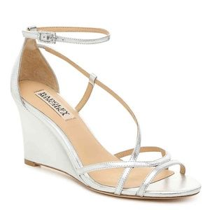 Badgley Mischka Toni Wedge Silver Metallic Sandals